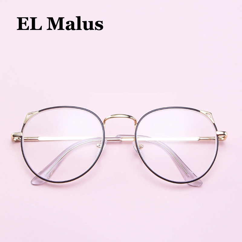[EL Malus]Myopia Glasses Women Metal Cute Cat Ear Frame Students Short-sight Optical Lens Gold Silver -1 -1.5 -2 -2.5 -3 -3.5 -4