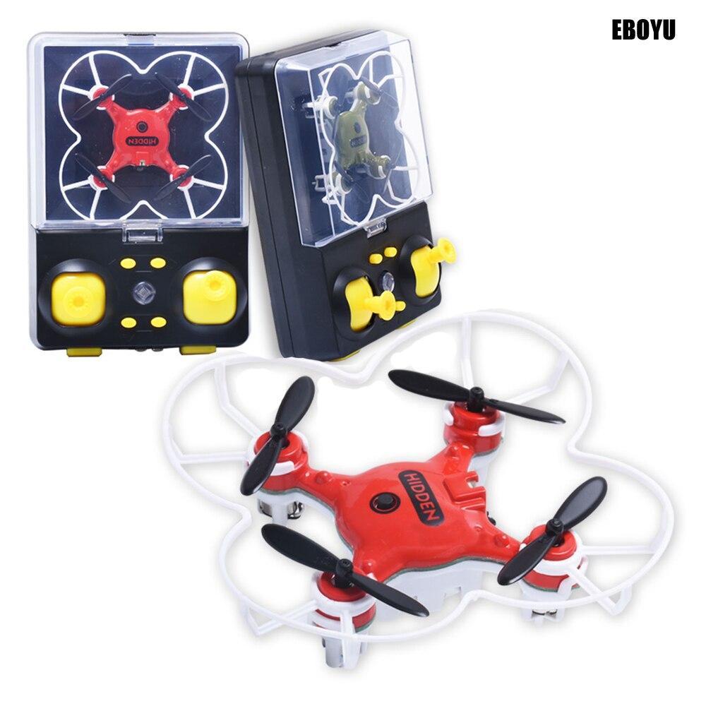 Oyuncaklar ve Hobi Ürünleri'ten RC Helikopterler'de EBOYU QS5017 Mini İHA GYRO RC Nano Drone Çok Renkli LED Işıkları 3D Kapak Başsız Modu RC dört pervaneli helikopter Drone RTF title=