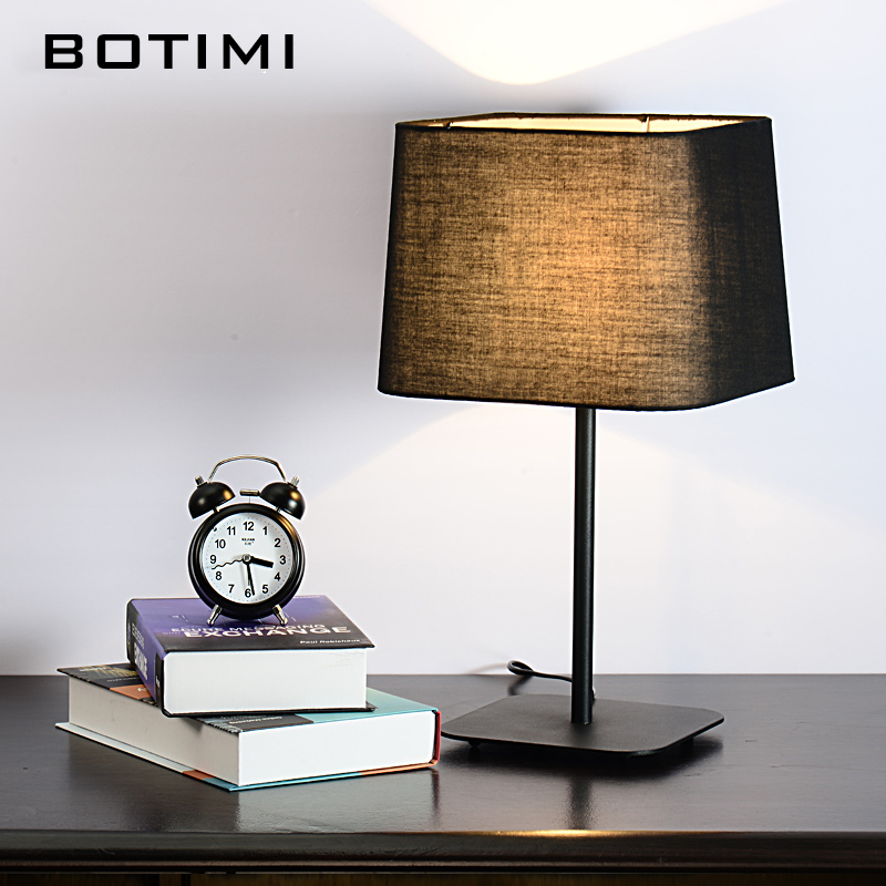BOTIMI Modern Table Lamp Hotel Book Lights lamparas de mesa Bedside Reading Light E27 Luminaria de mesa With LED Bulb For Free trazos modern table lamp color iron lampshade led lamparas de mesa metal desk light e27 hotel lighting deco luminaria de mesa