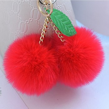 Cherry Faux Fur Keychain