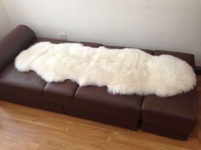 1pc Nature White Pure Wool Carpet Bed Blanket Sofa Fur Sheepskin Pad Room Home