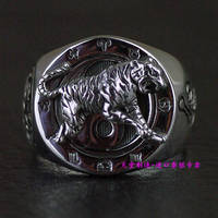 Thailand imported 925 silver dragon, white tiger, solid silver ring