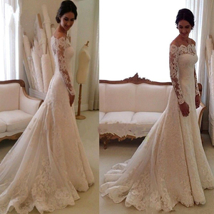 Image 3 - DZW056 זול Vestido דה Noiva ארוך שרוולים תחרה שמלת כלה 2019 כלה נישואי שמלת Vestido דה Casamento Robe De Mariage