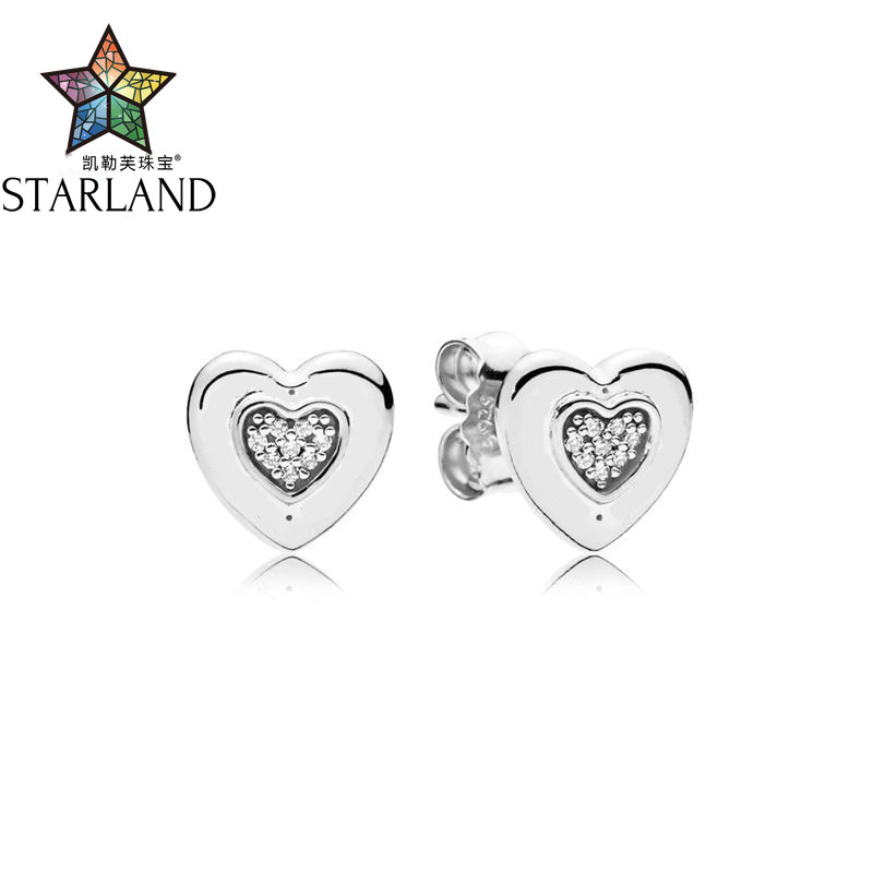 Billede af Starland 100% 925 Sterling Silver Vintage lLogo love personality simple fashion fashion CZ Earrings Fit woman Gift