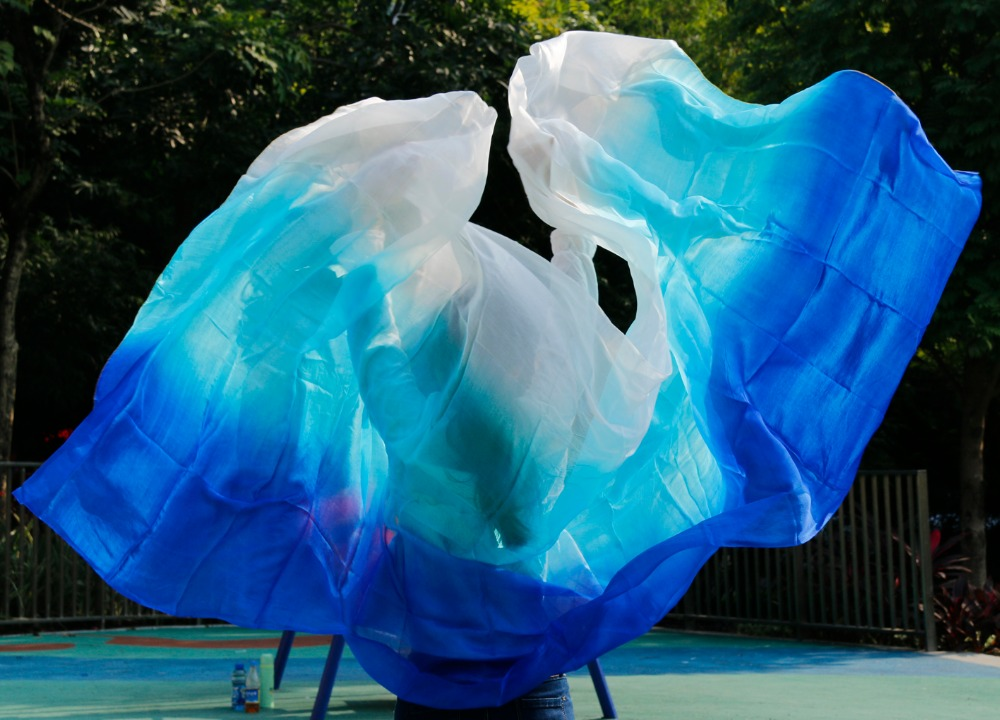 100% Silk Performance Belly Dance Accessories 3 Colors Tie Dye Light Texture White Scarf 2.5 or 2.7 Meters Women Silk Veil Dance