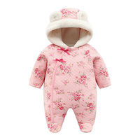 2019 Winter Newborn Princess Baby Romper Long Sleeve Hooded Soft Fleece Infant Overalls for Toodler Jumpsuit Baby Girl Clothes
