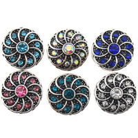 10pcs/lot New 6 Colors Flower Snap Button Jewelry Mixed Vintage Metal 12mm Snap Buttons fit Snap   Bracelet     Bangles   Women Jewelry