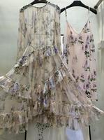 2019 высокое качество дамы с длинным рукавом печати шить в этническом стиле личности Женский длинное шелковое платье 0403
