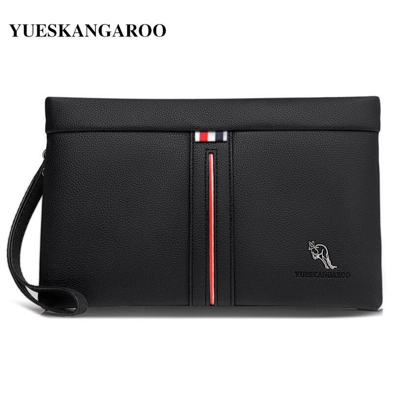 Luxury Brand Men Wallets Casual Business Men Clutch Bag High Quality Zipper Envelope Long Wallet Slim Handbag Leather Male Purse
