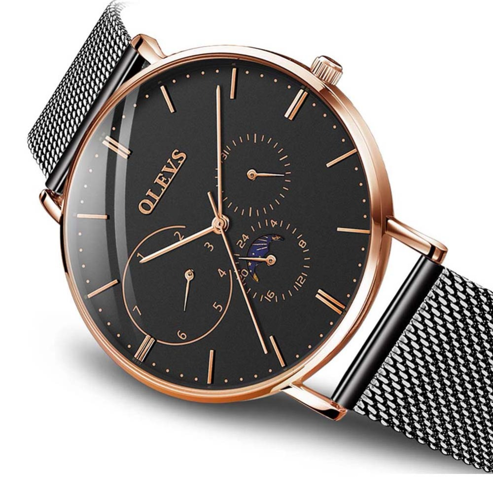 OLEVS Brand Luxury Full Stainless steel Watch Men Business Ultra thin Quartz waterproof Watches Military Wristwatch Relogio New
