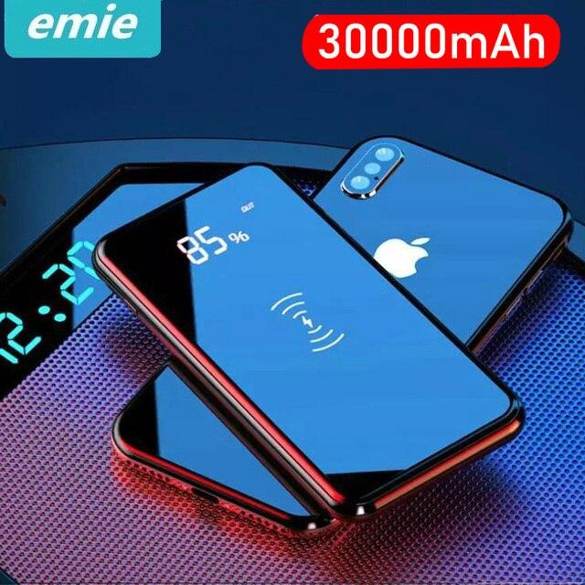 30000 мАч QI Беспроводное зарядное устройство power Bank для iPhone XS Max samsung Внешний аккумулятор с двумя usb-портами зарядное устройство беспроводной внешний аккумулятор