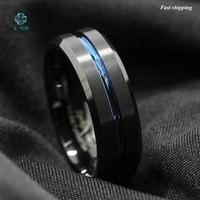 8mm Tungsten Carbide Ring Black Brushed Blue Stripe Wedding Band Men S Jewelry Free Shipping