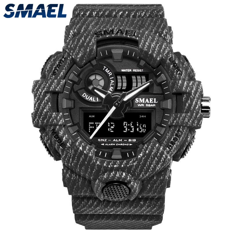 Casual Quartz Sport Shock Dual Time Digital Wristwatch
