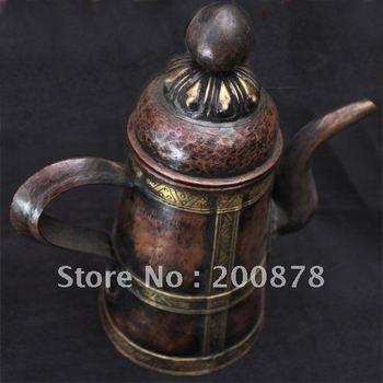 HDC0681  Tibet brass wine kettle,Tibetan Bar decor arts oranments,antiqued handicrafts,23*11cm