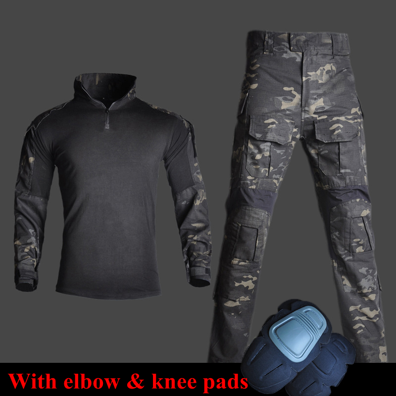 Tactical Combat Camounflage Suits Army Military Uniform with Elbow & Knee Pads Hiking Hunting Clothes Shirts Pants Ghillie Suits