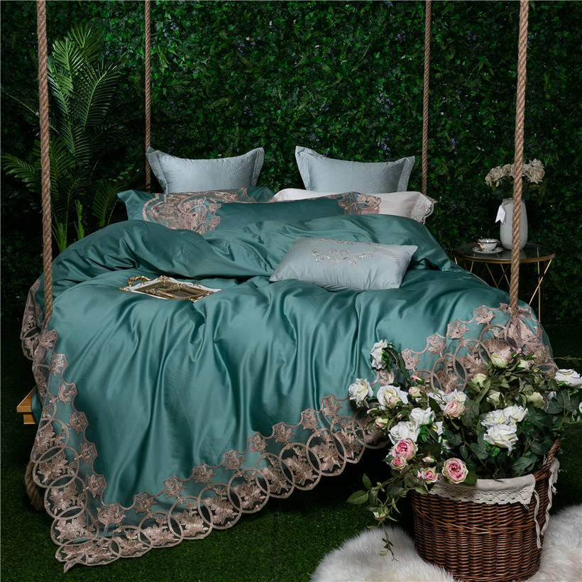 lace princess style queen king size green bedding set Egyptian cotton silky luxury royal bed linen/sheet set Quilt duvet 40lace princess style queen king size green bedding set Egyptian cotton silky luxury royal bed linen/sheet set Quilt duvet 40