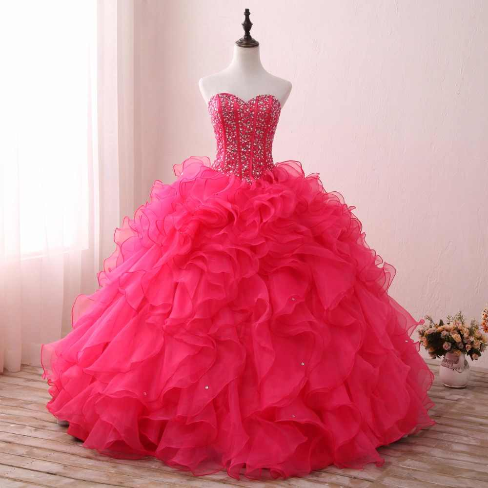 6f7f1653f48 2019 Ruffles Ball Gown Quinceanera Dresses Gown 2018 Beaded Sequined  Organza Prom Dress For 15 Year
