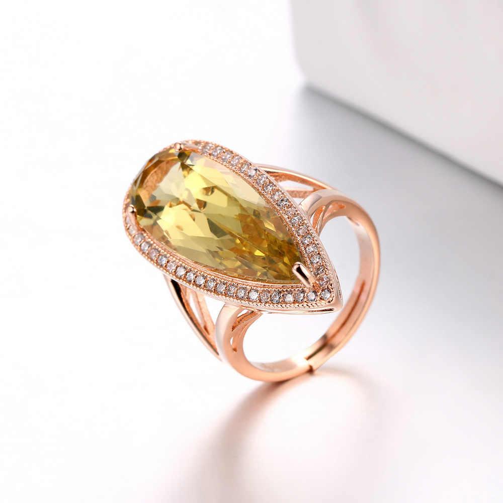 Bwellหรูหราธรรมชาติพลอยลูกแพร์รูปร่างหินซิทรินแหวนเงินแท้925 Rose Goldชุบเครื่องประดับที่ดีสำหรับผู้หญิงBWRI041