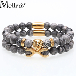 men bracelet Strand bracelet/men/women/stone beads/stainless steel/lion charms bracelets set handmade diy fashion jewelry 2020