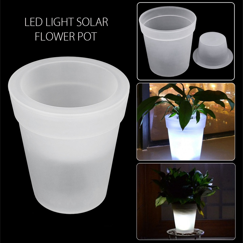 Mising Solar Power LED Soalr Light Illuminated Lighting Flower Pot Plastic Planter White ...