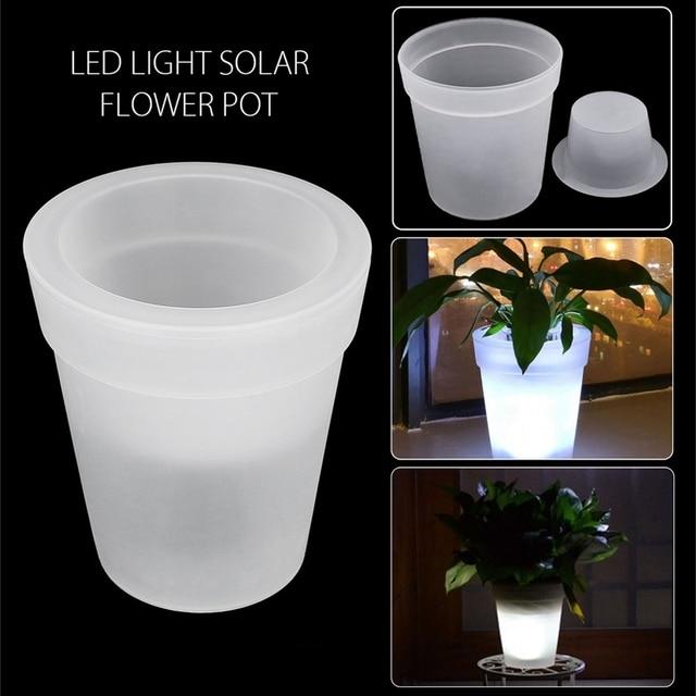 mising zonne energie led soalr licht verlichte verlichting bloempot plastic planter wit huis tuin decoratieve