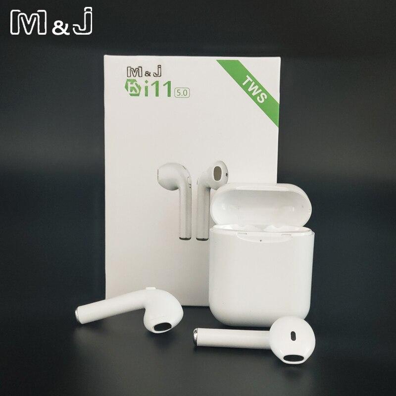 I11 Tws Wireless Earphone Bluetooth 5.0 Stereo 3D Headphone I7s Tws Mini Earbud Headset untuk Iphone Samsung Xiaomi Huawei LG
