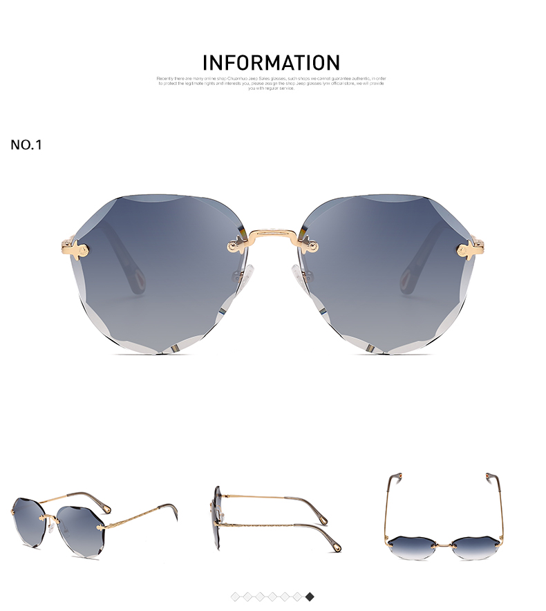 HTB1tuzLKNjaK1RjSZFAq6zdLFXam AEVOGUE Sunglasses For Women ladies Rimless Diamond cutting Lens Brand Designer Ocean Shades Vintage Sun Glasses AE0637