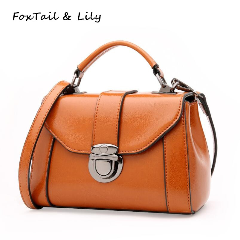 Foxtail & Lily Ladies Tote Shoulder Bag Lock Genuine Leather Luxury Handbags Women Bags Designer Small Crossbody Messenger Bags