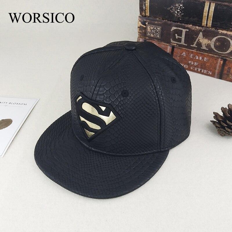 Prix pour [WORSICO] nouveau cuir superman casquette de baseball femmes hiver chaud hommes hip hop snapback casquettes os solide noir marque chapeaux gorras homme
