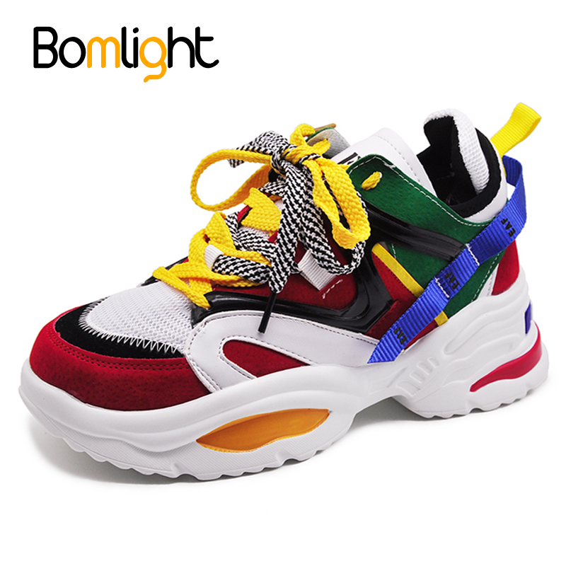 Bomlight Women Sneakers Chaussures Platform-Shoes Web-Celebrity Chunky Thick-Sole Trendy