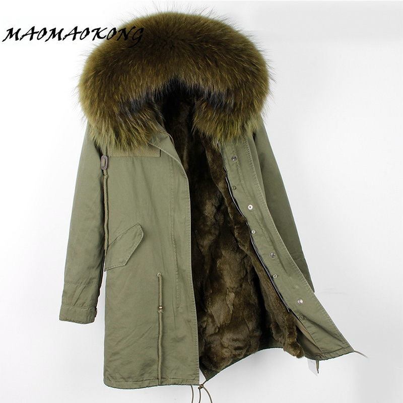 2017 brand real rabbit fur coat long winter jacket women detachable raccoon fur collar thick warm fur parka top quality 2017 winter new clothes to overcome the coat of women in the long reed rabbit hair fur fur coat fox raccoon fur collar