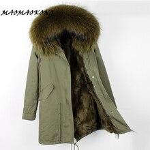 2017 marca real coelho casaco de pele longo mulheres jaqueta de inverno parka de pele de guaxinim destacável gola de pele grossa quente qualidade superior