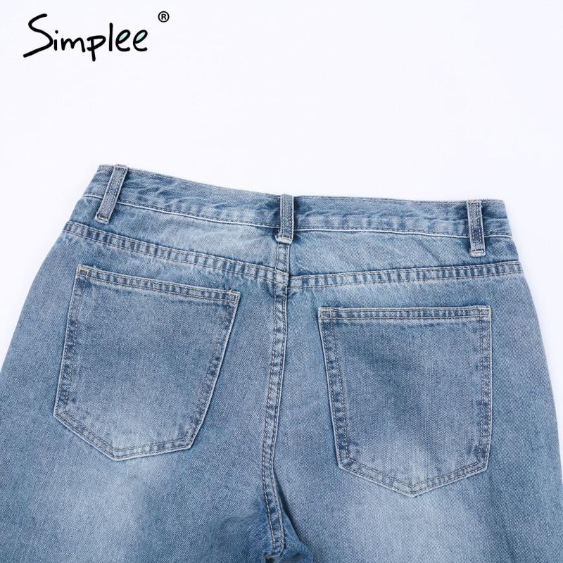 Simplee Sequin hole blue jeans women bottom Streetwear zipper fringe ripped jeans pants 2019 Spring trousers loose female denim