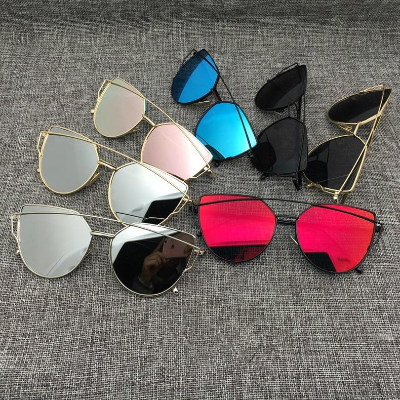 2016 New Cat Eye Aviator Sunglasses Women Vintage Fashion Metal Frame Mirror Sun Glasses Unique Flat