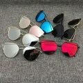 2016 new cat ojo gafas de sol de aviador mujeres marco gafas de sol de espejo plano único metal de la manera de la vendimia de las señoras gafas de sol uv400