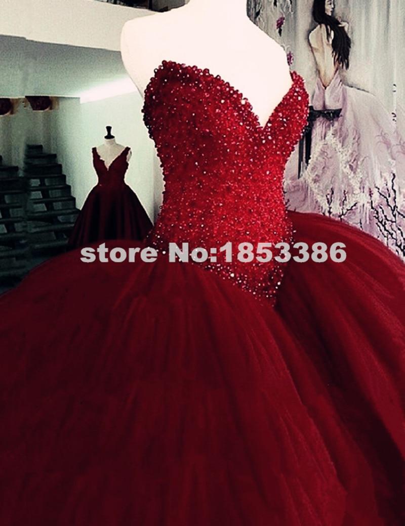 Vintage Dark Red Ball Gown Wedding Dresses 2015 Elegant Sweetheart ...