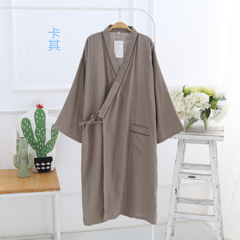2019 New Men S Dyed Double Gauze Robe Loose Casual Thin Cotton Robe ... 3b9bc5956
