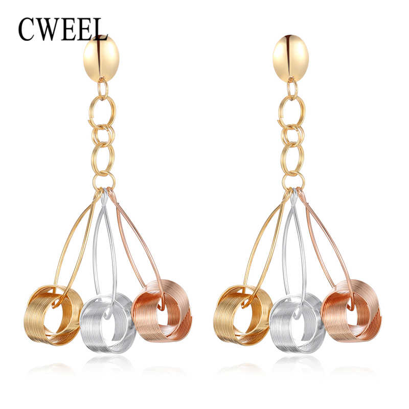 CWEEL Dangle Long Earrings For Women Statement Fashion Punk Boho Metal Jewelry Geometric Big Fringe Drop Earrings