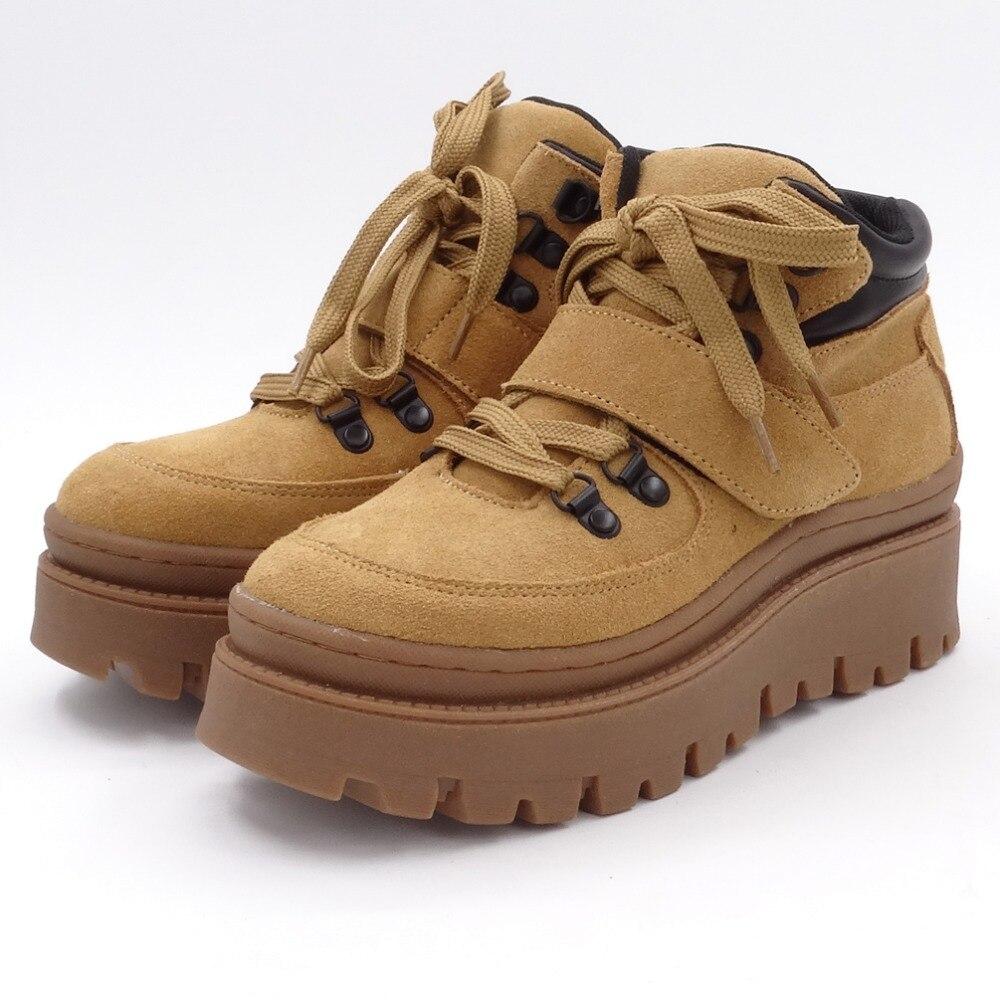 Tornozelo botas femininas 2020 inverno camurça tornozelo boot feminino rendas até apartamentos plataforma confortável punk boot preto sapatos marrons - 2