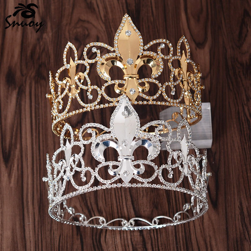 Snuoy Gold/Silver Metal King Crowns Royal Men Full Round Crown Circle Tiara Sword Lily Medieval Male Hair Jewelry Birthday/Party