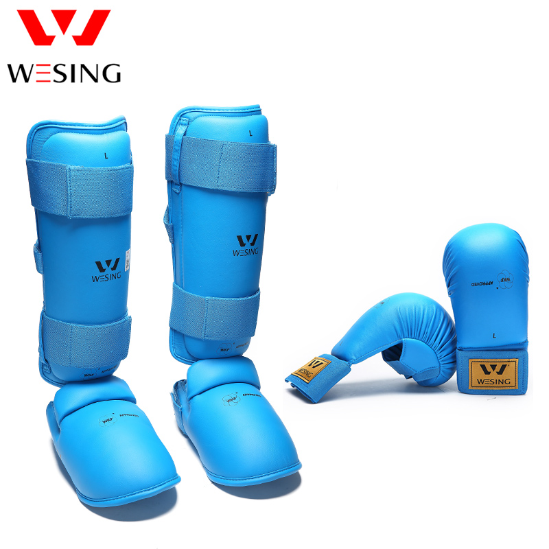 WESING karate shing and intep guard and karate gloves karate equipment for competition WKF free shipping wesing women karate chest guard female boxing chest protector approved wkf