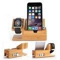 2 em 1 De Madeira De Bambu Titular Doca de Carregamento Estação de Carga Com 3 portas usb 2.0 hub para apple watch 38mm 42mm & iPhones