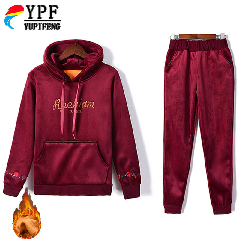 winter Women's Sets new rose flower embroidery cotton Cuff Gold velvet 2 piece sets trousers two-piece set women's tracksuit
