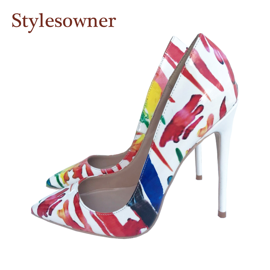 Stylesowner Horny Patent Leather-based Printing Girl Horny Skinny Heel Shoe Pointed Toe Measurement 33-44 Excessive-heeled Shoe Sapatos Mujer Ladies's Pumps, Low cost Ladies's Pumps, Stylesowner Horny Patent Leather-based Printing...