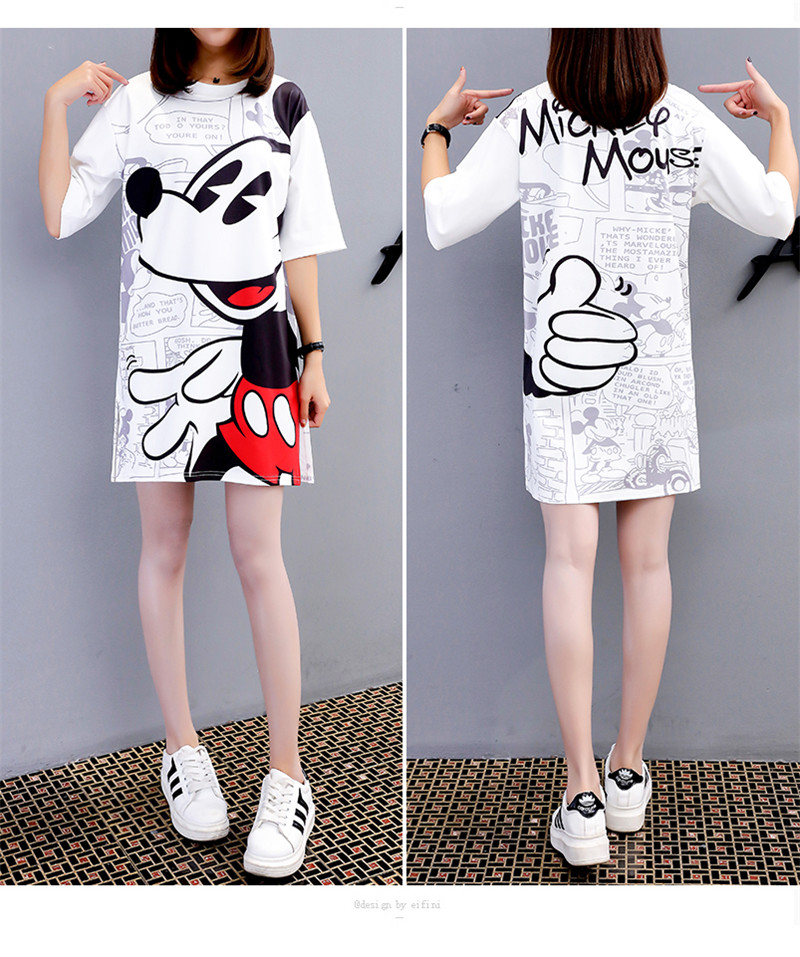 Minnie Mickey Mouse Women Dress Summer Cartoon Black White Loose Vestidos Streetwear Fashion Clothing Casual Plus Size Dresses in Dresses from Women 39 s Clothing