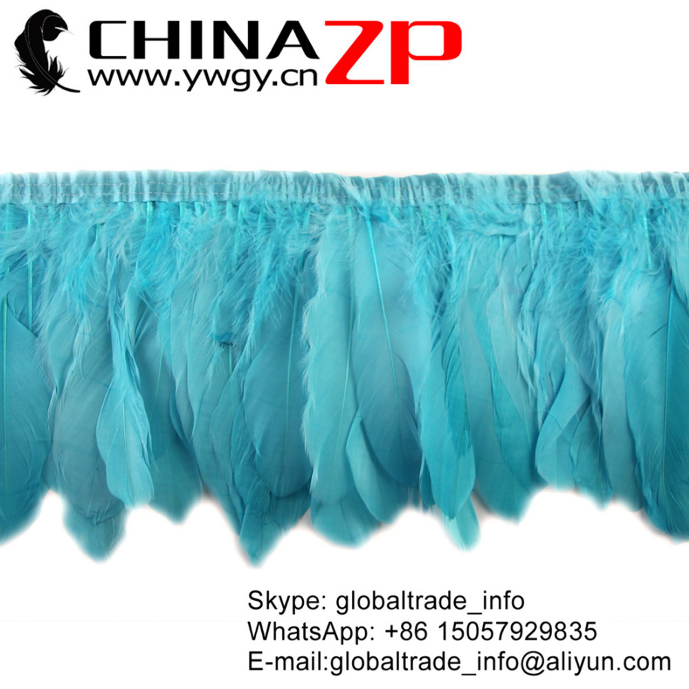 Gold Supplier CHINAZP Factory Good Quality Light Blue Dyed Goose Nagoire Satinettes Feather Trim DIY Decorations