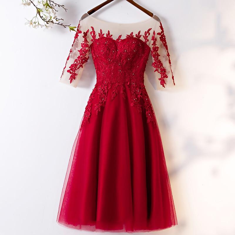 EZKUNTZA 2019 New Vintage Evening Dresses O-neck A-line Party Prom Dress Classic Embroidery Vestido De Festa Robe De Soiree L