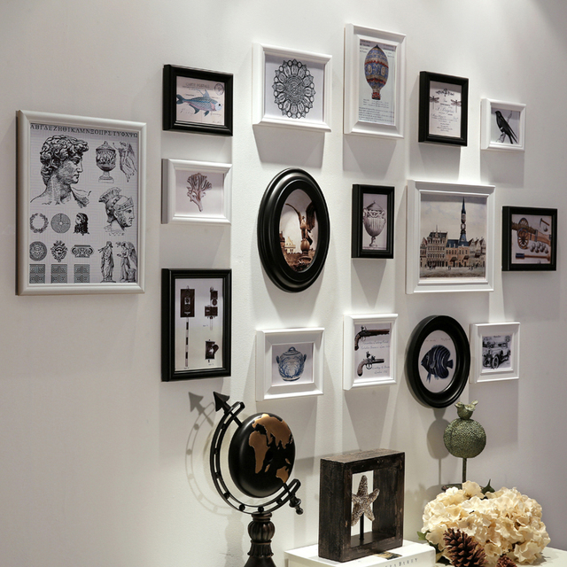 16 PCS/Set Brand Wooden Photo Frame Set, Family Wall Decoration ...