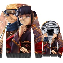 jackets for men thicken wool liner hooded harajuku Japanese 2018 winer sportswear coats 3D Print Uzumaki Naruto Anime tracksuits