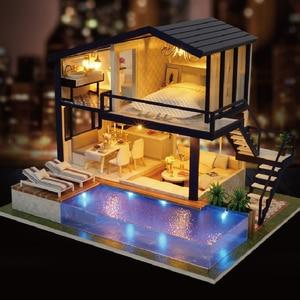 Image 3 - بيت الدمية أثاث خشبي لتقوم بها بنفسك منزل صندوق مصغر لغز تجميع ثلاثية الأبعاد miniator دمية مجموعات لعب للأطفال هدية عيد ميلاد